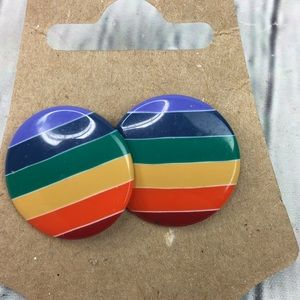 5/$25 80's 90's rainbow round button earrings